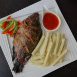 Yam Fries and Grilled Fish