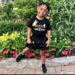 Adorable photo of davido's daughter Imade Adeleke,rocking a gucci shirt